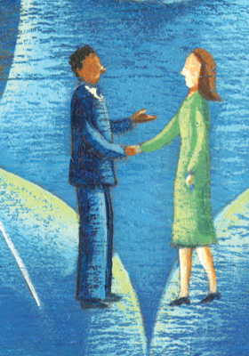 Illustration of a man and a woman exchanging a handshake.