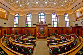 Photo from inside the Council Chambers at City Hall in Montreal