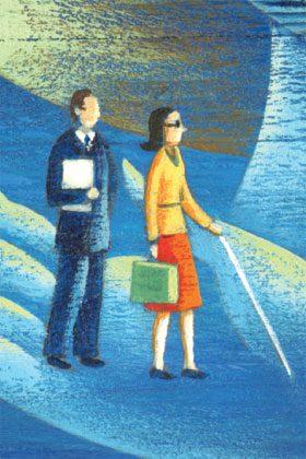 Illustration d'une femme ayant une déficience visuelle